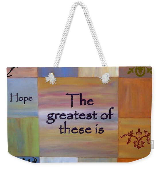 Weekender Tote Bag featuring the painting Love Is Everything by Cynthia Amaral