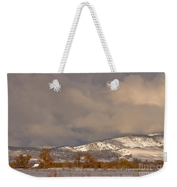 Low Winter Storm Clouds Colorado Rocky Mountain Foothills 2 Weekender Tote Bag