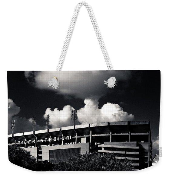 Lsu Tiger Stadium Black And White Weekender Tote Bag