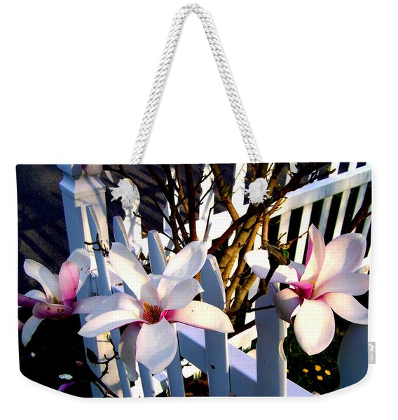 Weekender Tote Bag featuring the photograph Magnolis's On A Picket Fence by Cynthia Amaral