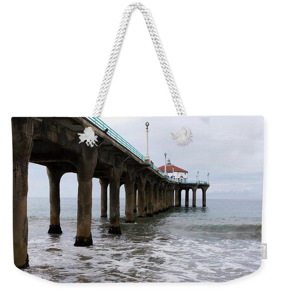 Weekender Tote Bag featuring the photograph Manhattan Beach Pier by Lorraine Devon Wilke