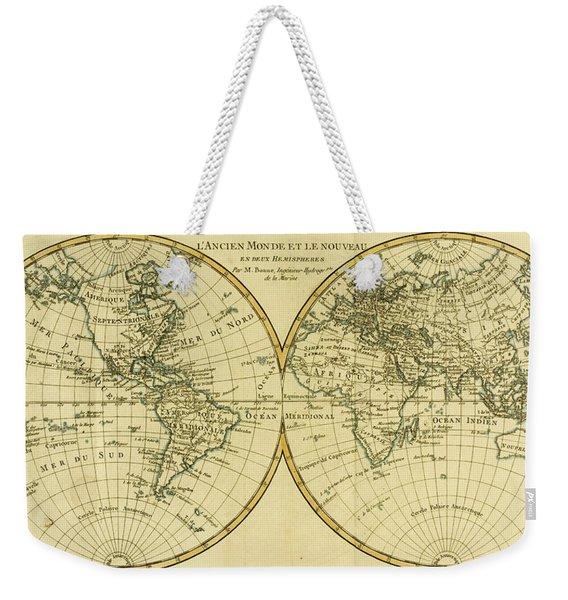 Map Of The World In Two Hemispheres Weekender Tote Bag