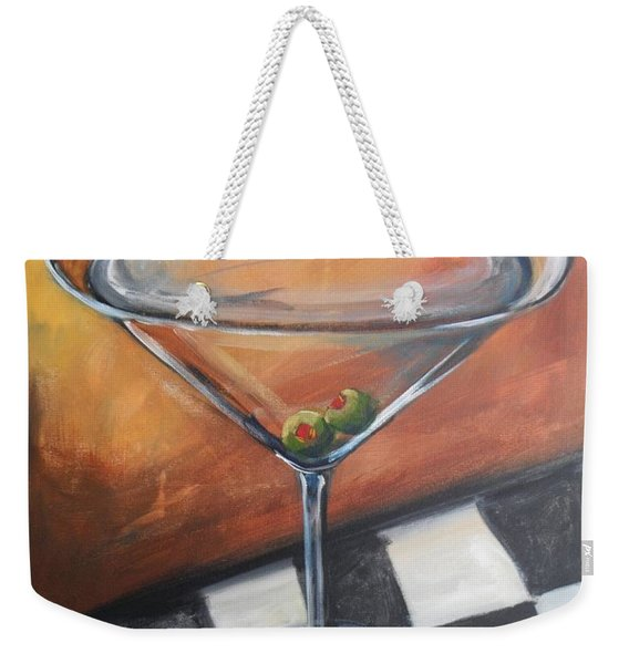Martini On Checkered Tablecloth Weekender Tote Bag