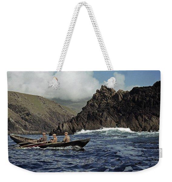 Men Row Against Atlantic Swells Weekender Tote Bag