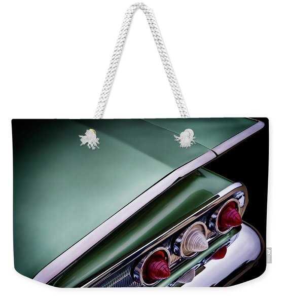 Metalic Green Impala Wing Vingage 1960 Weekender Tote Bag