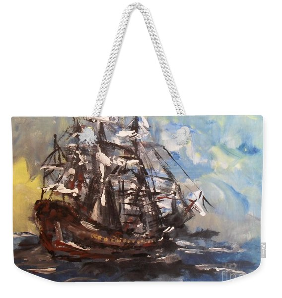 Weekender Tote Bag featuring the painting My Ship by Laurie Lundquist