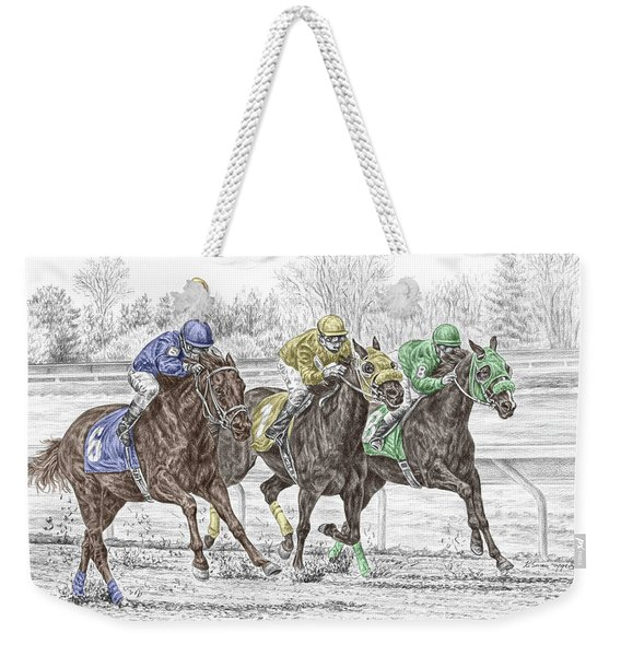 Neck And Neck - Horse Race Print Color Tinted Weekender Tote Bag