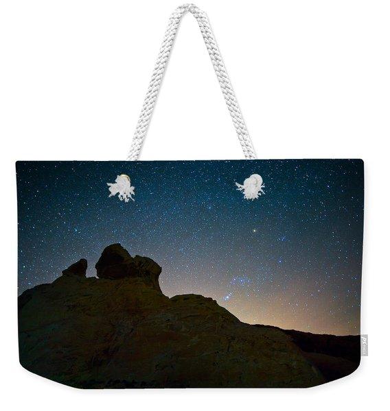 Night Sky Over Valley Of Fire Weekender Tote Bag