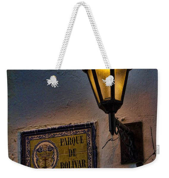 Old Lamp On A Colonial Building In Old Cartagena Colombia Weekender Tote Bag