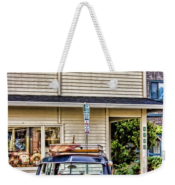 Old Plymouth And Surfboard Weekender Tote Bag