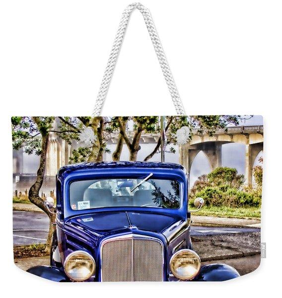 Old Roadster - Blue Weekender Tote Bag