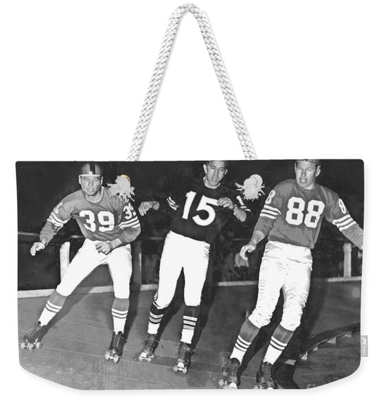 Old School Roller Derby With The Sf 49ers And Oakland Raiders Weekender Tote Bag