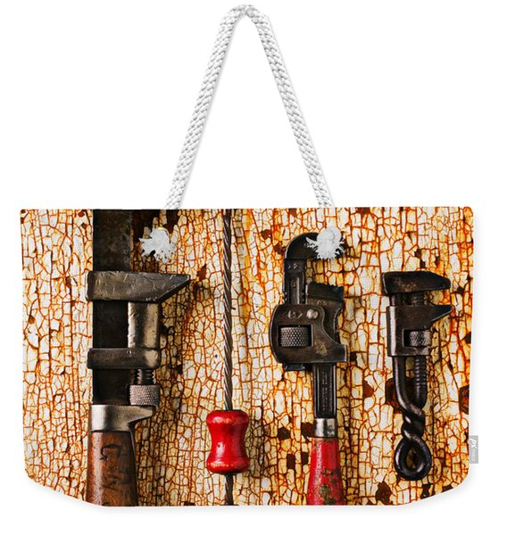 Old Tools On Rusty Counter  Weekender Tote Bag
