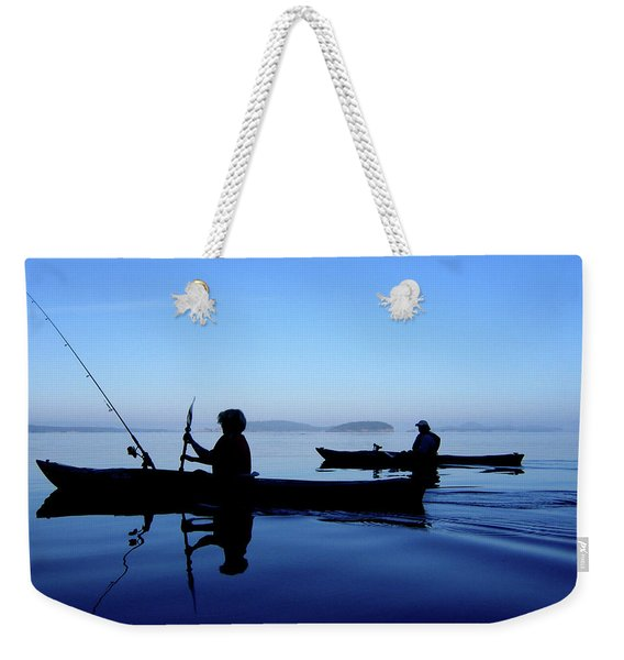 Weekender Tote Bag featuring the photograph On The Deep Blue Sea by Lorraine Devon Wilke