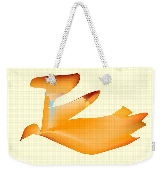 Orange Jetpack Penguin Weekender Tote Bag