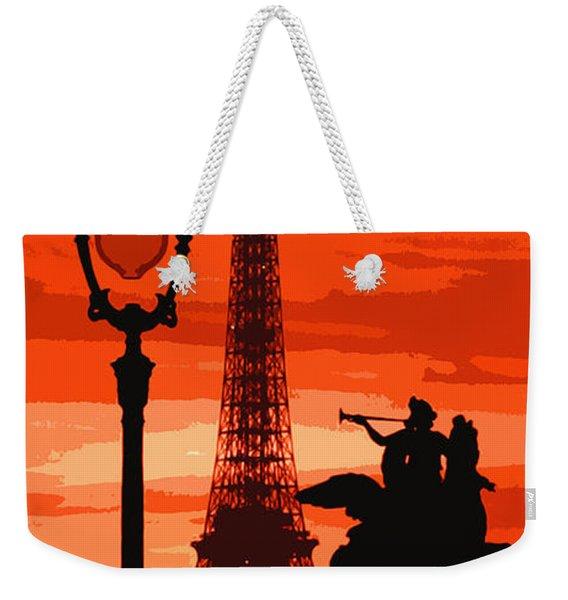 Paris Tour Eiffel Red Weekender Tote Bag
