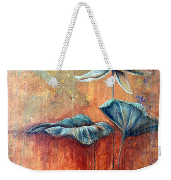 Weekender Tote Bag featuring the painting Patina Lotus by Ashley Kujan