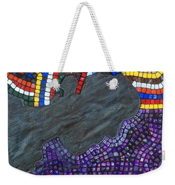 Weekender Tote Bag featuring the painting Peace Man by Cynthia Amaral