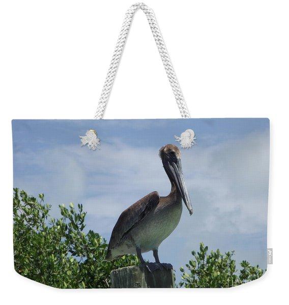 Perched Pelican Weekender Tote Bag