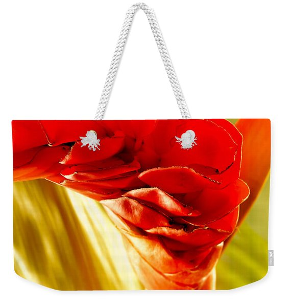 Photograph Of A Red Ginger Flower Weekender Tote Bag