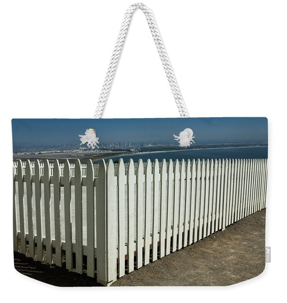 Picket Fence By The Cabrillo National Monument Lighthouse In San Diego Weekender Tote Bag