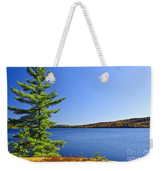 Pine Tree At Lake Shore Weekender Tote Bag