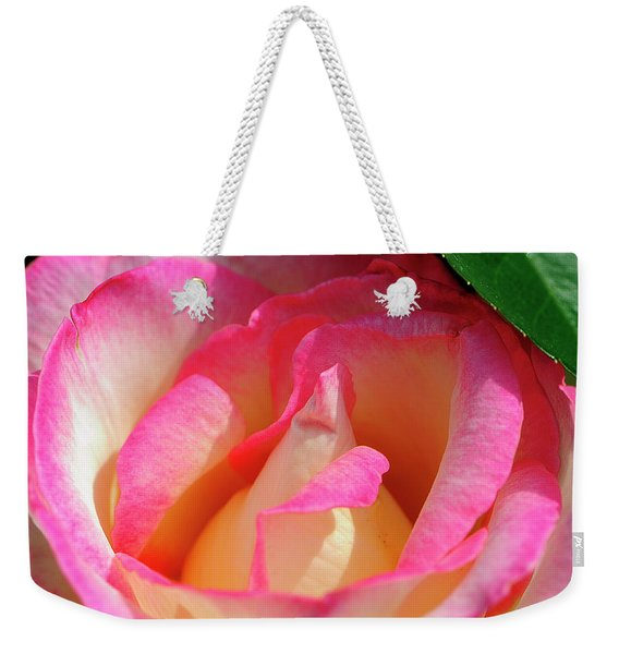 Pink And White Rose Weekender Tote Bag