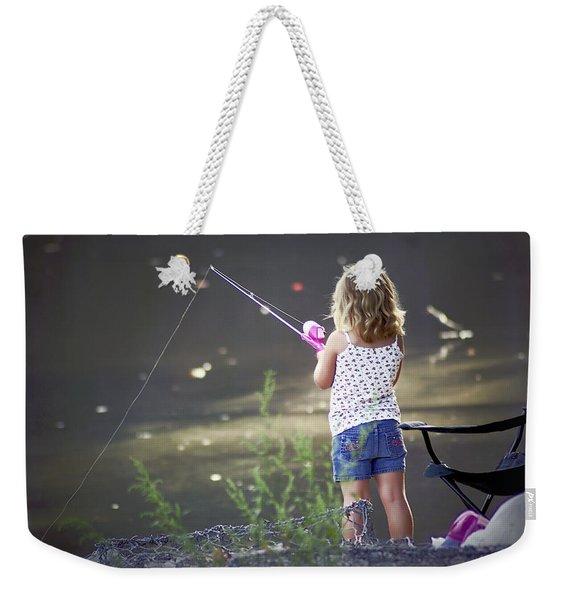 Pink Fishing Rod Weekender Tote Bag