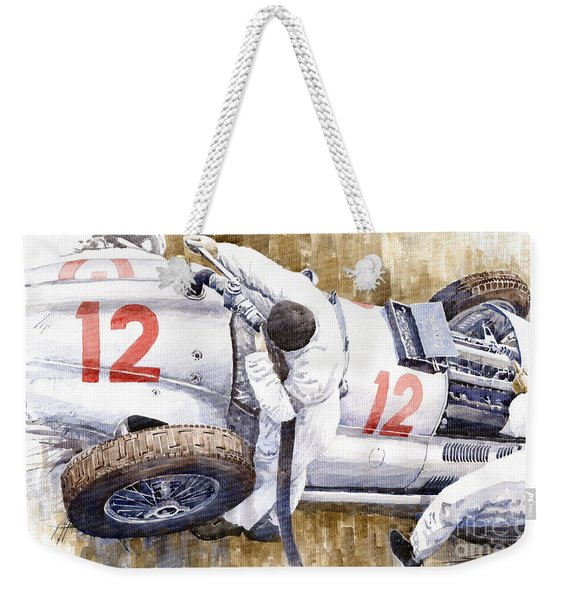 Pit Stop German Gp 1939 Mercedes Benz W154 Rudolf Caracciola Weekender Tote Bag