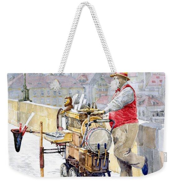 Prague Charles Bridge Organ Grinder-seller Happiness  Weekender Tote Bag