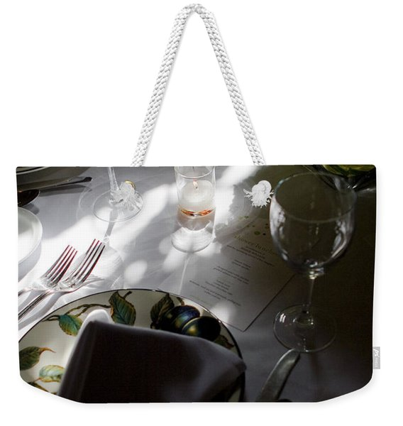 Weekender Tote Bag featuring the photograph Pretty Place Setting by Lorraine Devon Wilke