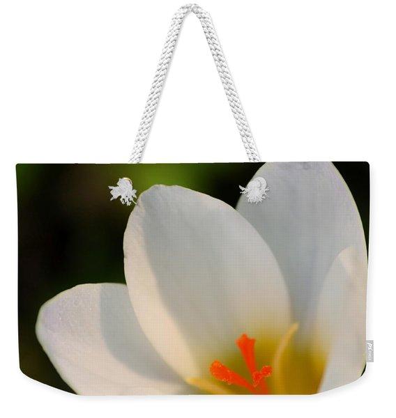 Pretty White Crocus Weekender Tote Bag
