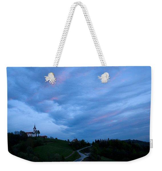 Prezganje Church At Sunset Weekender Tote Bag