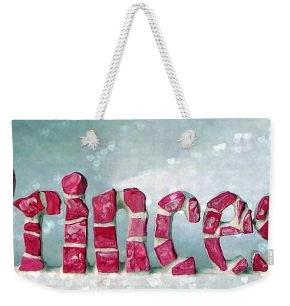 Weekender Tote Bag featuring the mixed media Princess Hearts by Cynthia Amaral