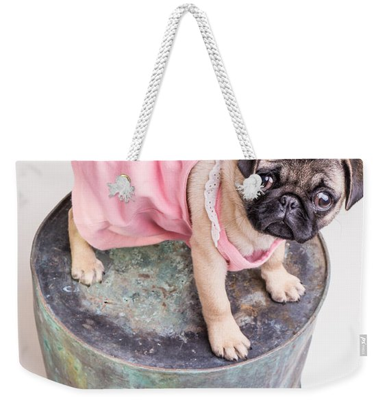 Pug Puppy Pink Sun Dress Weekender Tote Bag