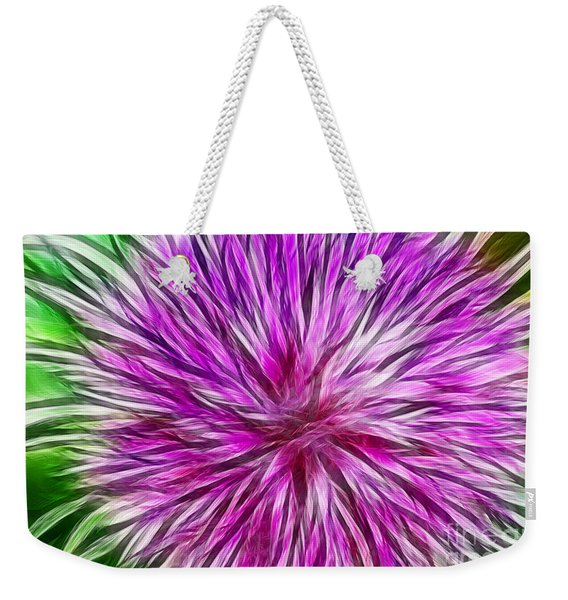 Purple Flower Fractal Weekender Tote Bag