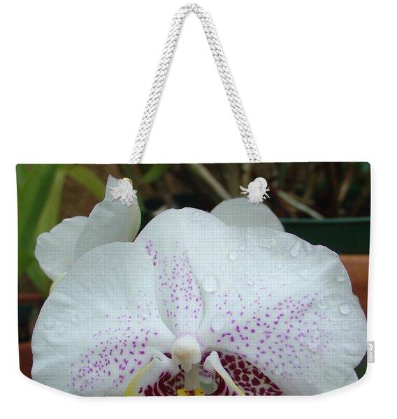 Rain Drops On Orchid Weekender Tote Bag