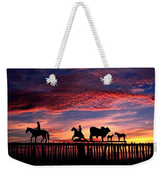 Texas Ranch Gate At Sunrise Weekender Tote Bag