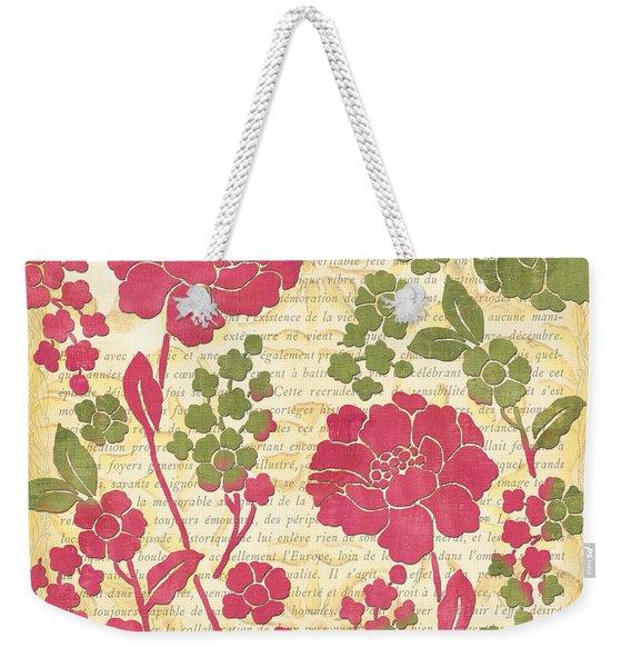 Raspberry Sorbet Floral 1 Weekender Tote Bag