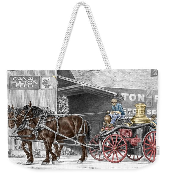 Ready And Waiting - Canal Fulton Ohio Fire Engine Print Weekender Tote Bag