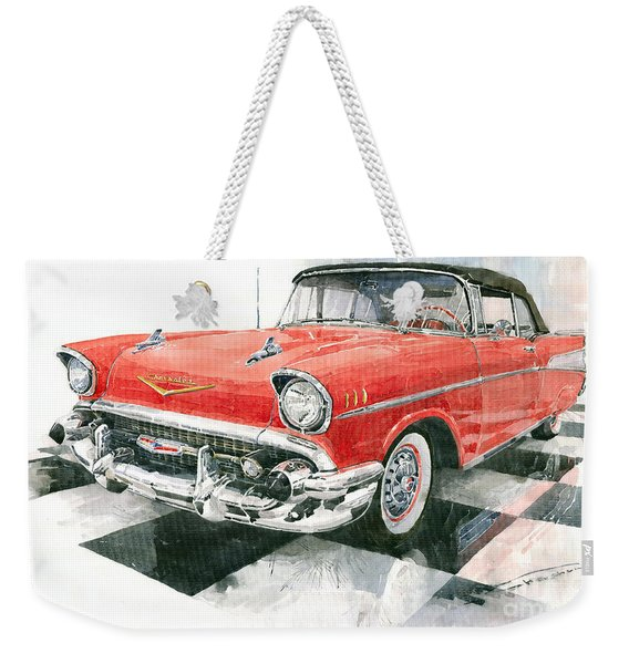 Red Chevrolet 1957 Weekender Tote Bag