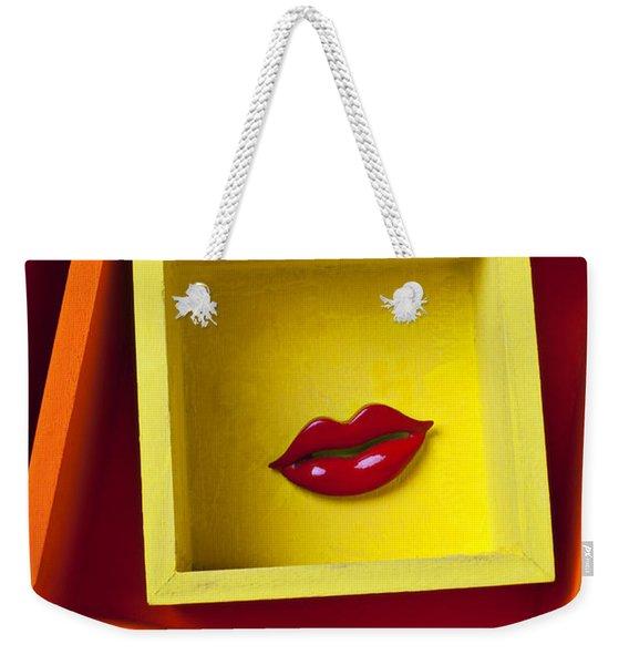 Red Lips In Yellow Box Weekender Tote Bag