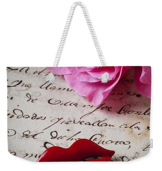 Red Lips On Letter Weekender Tote Bag