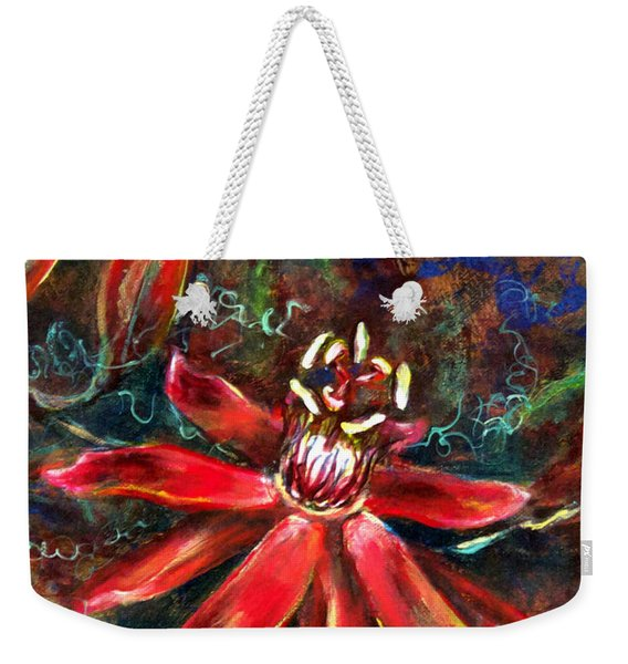 Weekender Tote Bag featuring the painting Red Passion by Ashley Kujan