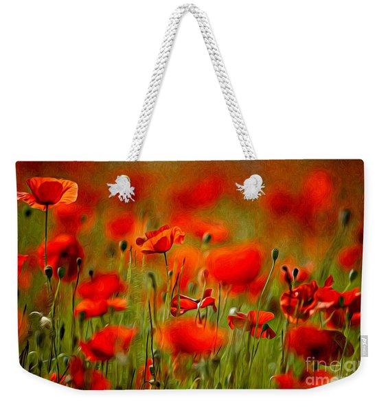 Red Poppy Flowers 02 Weekender Tote Bag