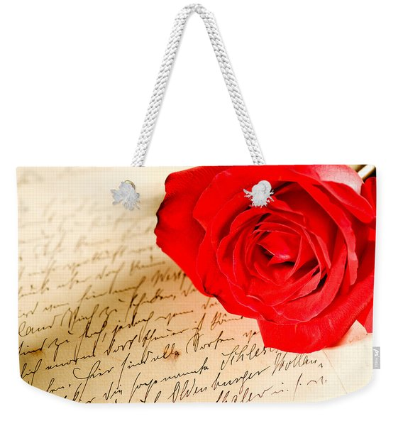 Red Rose Over A Hand Written Letter Weekender Tote Bag