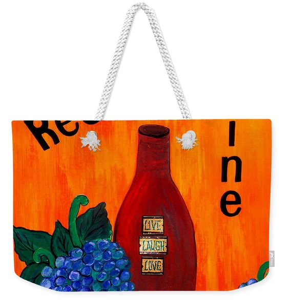 Weekender Tote Bag featuring the painting Red Wine by Cynthia Amaral