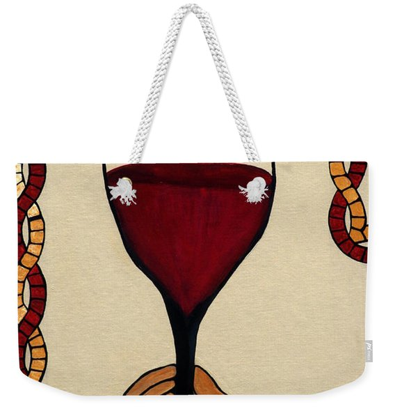 Weekender Tote Bag featuring the painting Red Wine Glass by Cynthia Amaral
