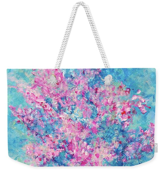 Weekender Tote Bag featuring the painting Redbud Special by Nancy Cupp