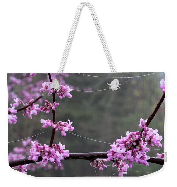 Redbud With Webs And Dew Weekender Tote Bag
